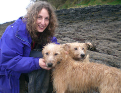 Anne Harrington Rees with two lurchers on Courtmacsherry beach.