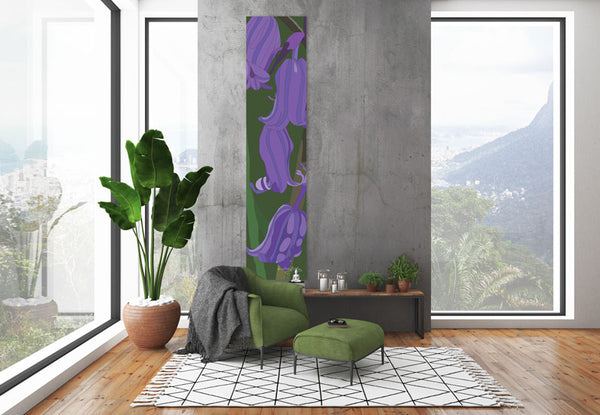 Bluebell wall hanging designed by Anne Harrington Rees, shown hanging in a room.