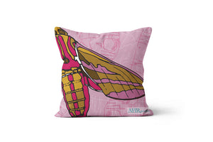 Colourful gift - Pink, Mustard, Yellow, White and Brown Elephant Hawk Moth design cushion on white background.