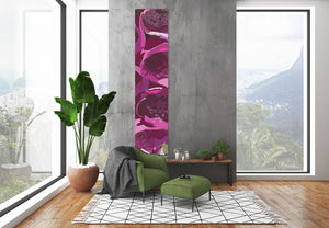 Foxglove wall hanging designed by Anne Harrington Rees, shown hanging on a wall in a room.
