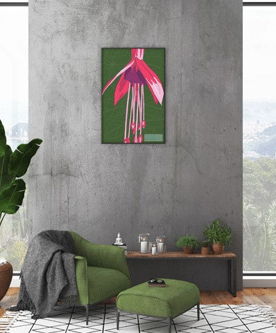 Colourful floral art gift – Pink, Purple and Green Fuchsia flower design tea towel framed as wall art.