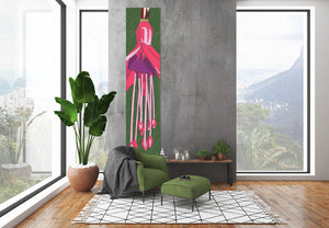 Photo of the Fuchsia wall hanging, designed by Anne Harrington Rees, in situ in a room.