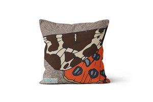 Colourful gift - Brown, Orange, Cream and Blue Garden Tiger Moth design cushion on white background.