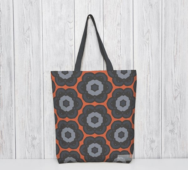 Patterned tote bag. Orange, blue, black. Designed by Anne Harrington Rees