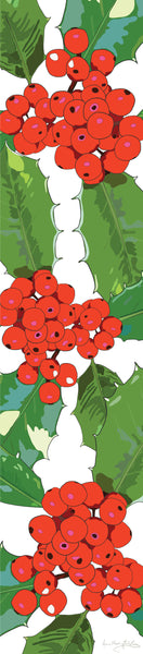 Holly table runner designed by Anne Harrington Rees, featuring red berries and spiny green leaves on a white background.