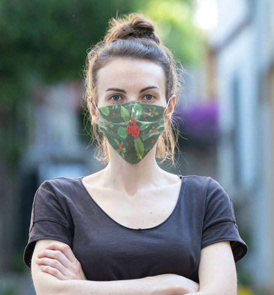 Woman wearing Anne Harrington Rees' Holly Face Mask