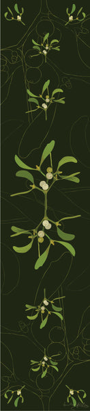 Mistletoe table runner designed by Anne Harrington Rees.  Symmetrical design of leaves and berries on a dark green background.