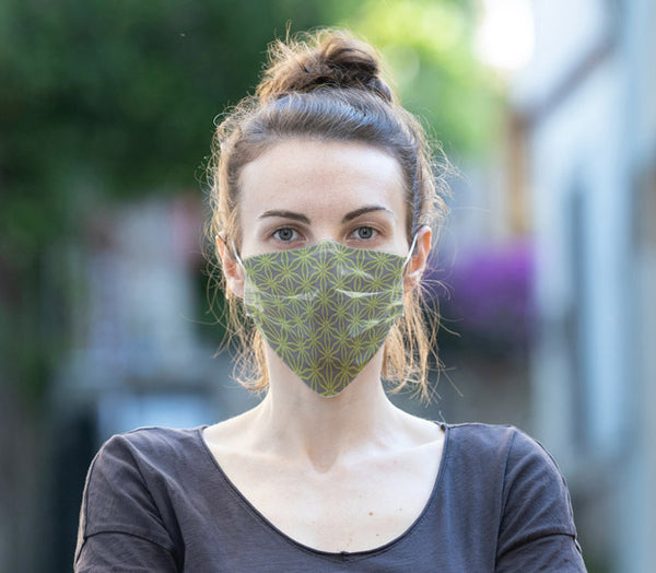 Woman wearing Anne Harrington Rees' Monty Face Mask