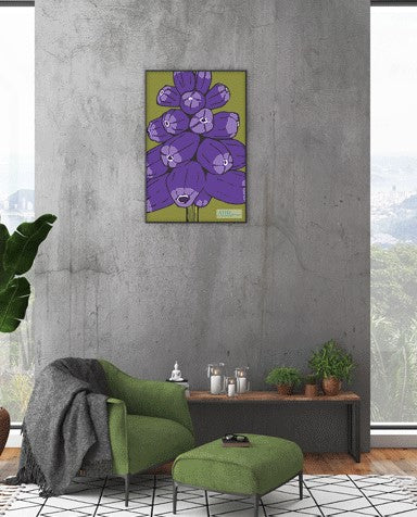 Colourful floral gift – Purple and Green Muscari flower design tea towel framed as wall art.