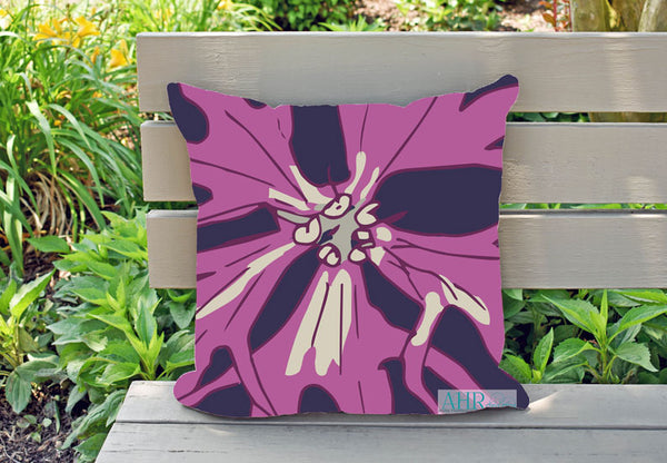 Colourful gift – Pink, Cream and Navy Ragged Robin flower design cushion on garden bench.