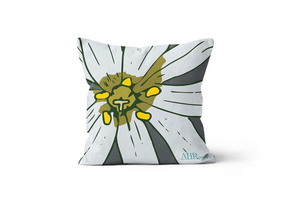 Colourful gift - White, Yellow, Green and Grey Stitchwort flower design cushion on white background.