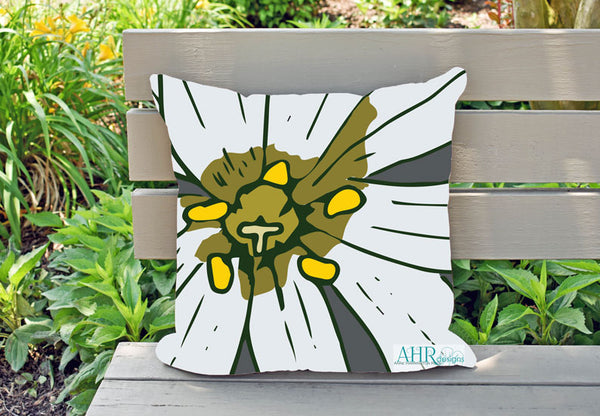 Colourful gift – White, Yellow, Green and Grey Stitchwort flower design cushion on garden bench.
