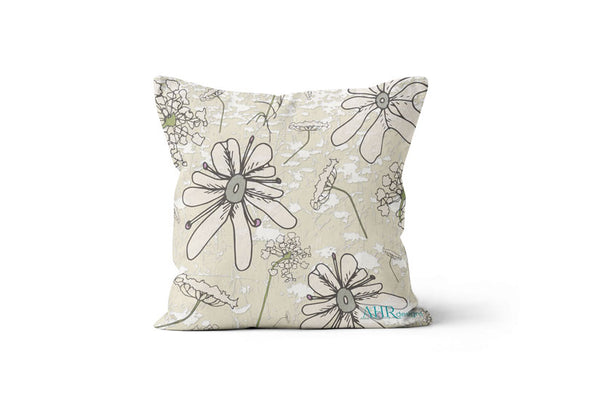 Colourful gift - Cream, Pink, Green and Grey Wild Carrot flower design cushion on white background.
