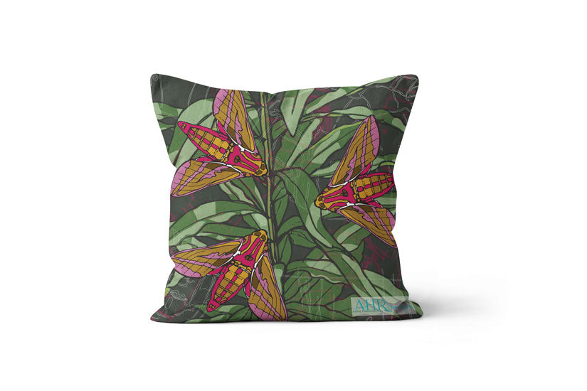 Green, Pink, Mustard, Yellow, White and Brown Willowherb Moths design cushion on white background.