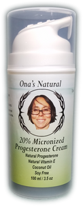 Ona's Natural Progesterone 20% Cream -  3.5 oz pump - Almond Oil Base