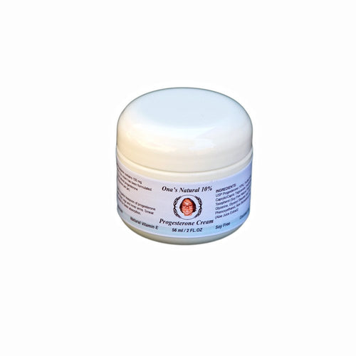 Ona's Natural Progesterone 10% Cream - 2 oz/56 ml Jar - Almond Oil Base