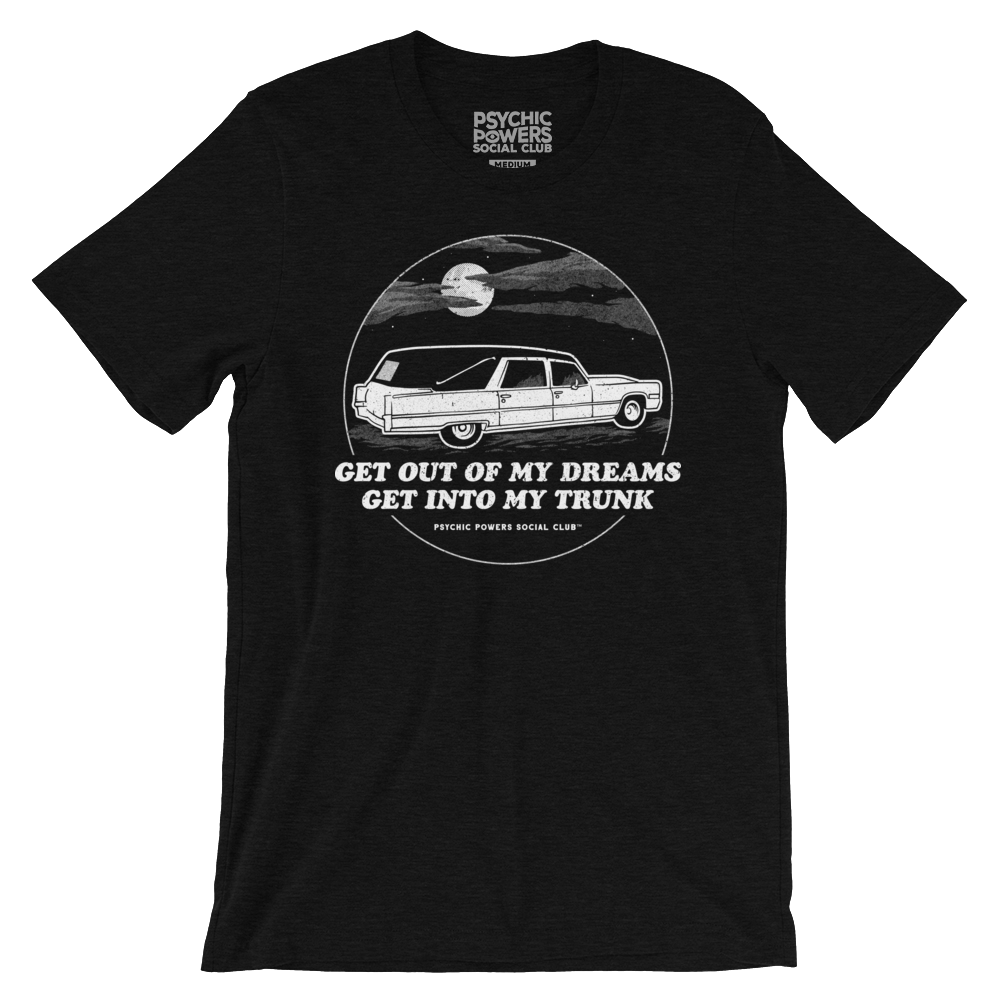 Black t-shirt with hearse, moon and clouds and the words,