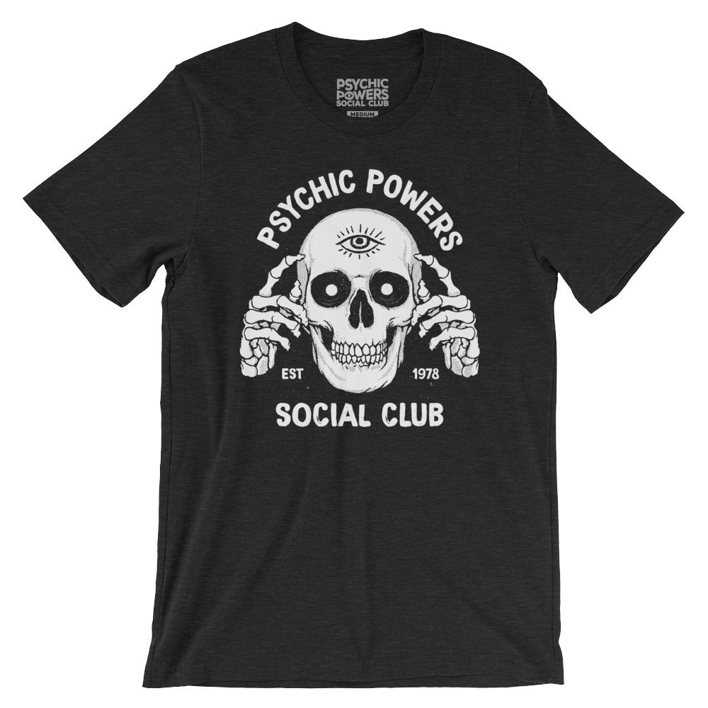 Psychic Skull Tee - Image of Skull with skeleton hands pointing to third eye on forehead. Printed on front of tee.