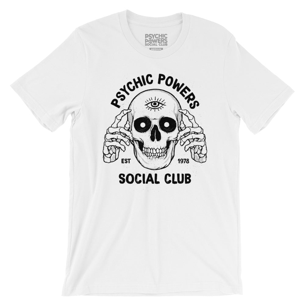 Psychic Skull Tee (White) - Image of Skull with skeleton hands pointing to third eye on forehead. Printed on front of tee.