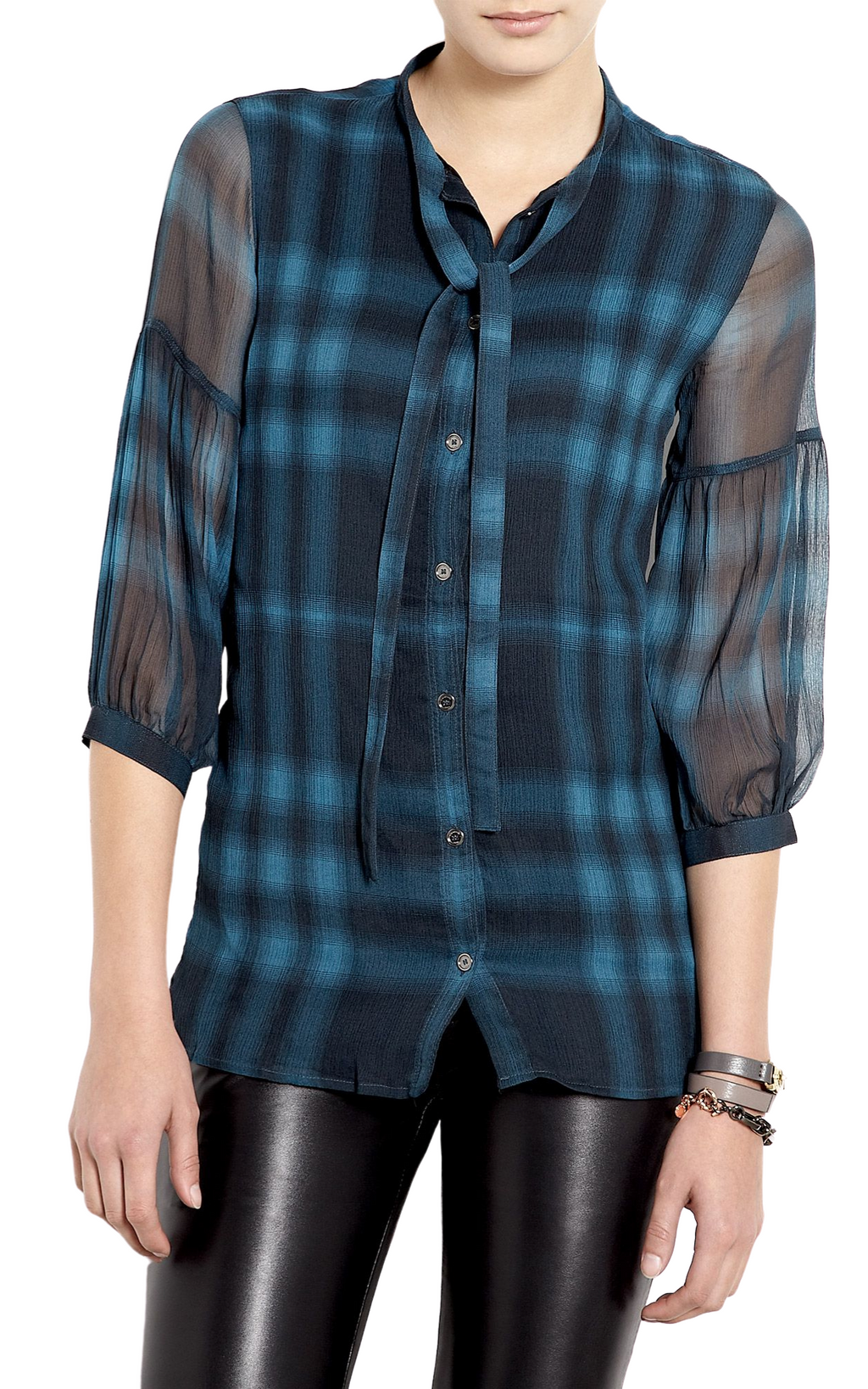 Burberry Brit Silk Nova Check Bell Sleeve Blouse