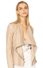 LAMARQUE 'Mira' Drape Leather Jacket