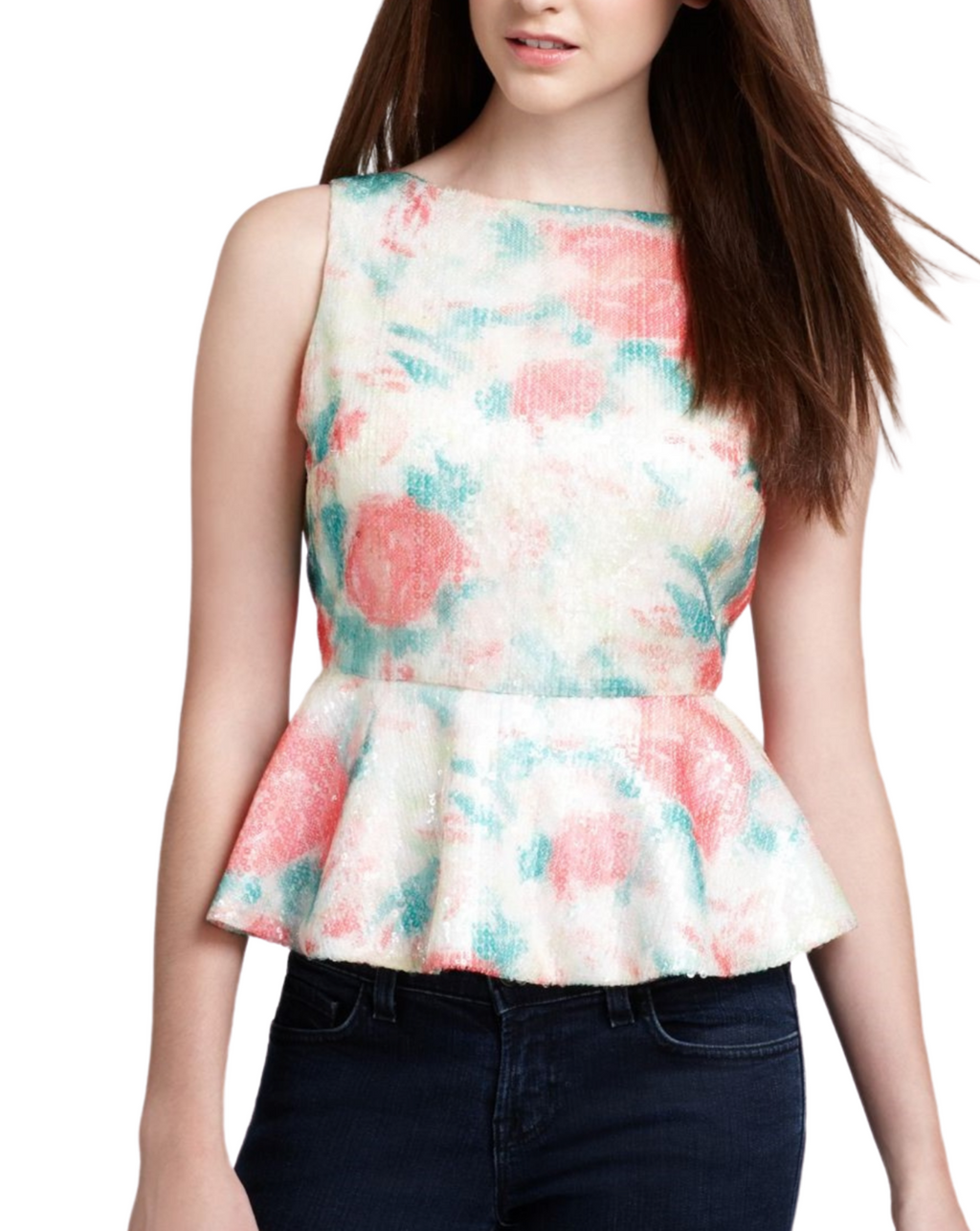 Alice + Olivia Floral Sequin Peplum Top