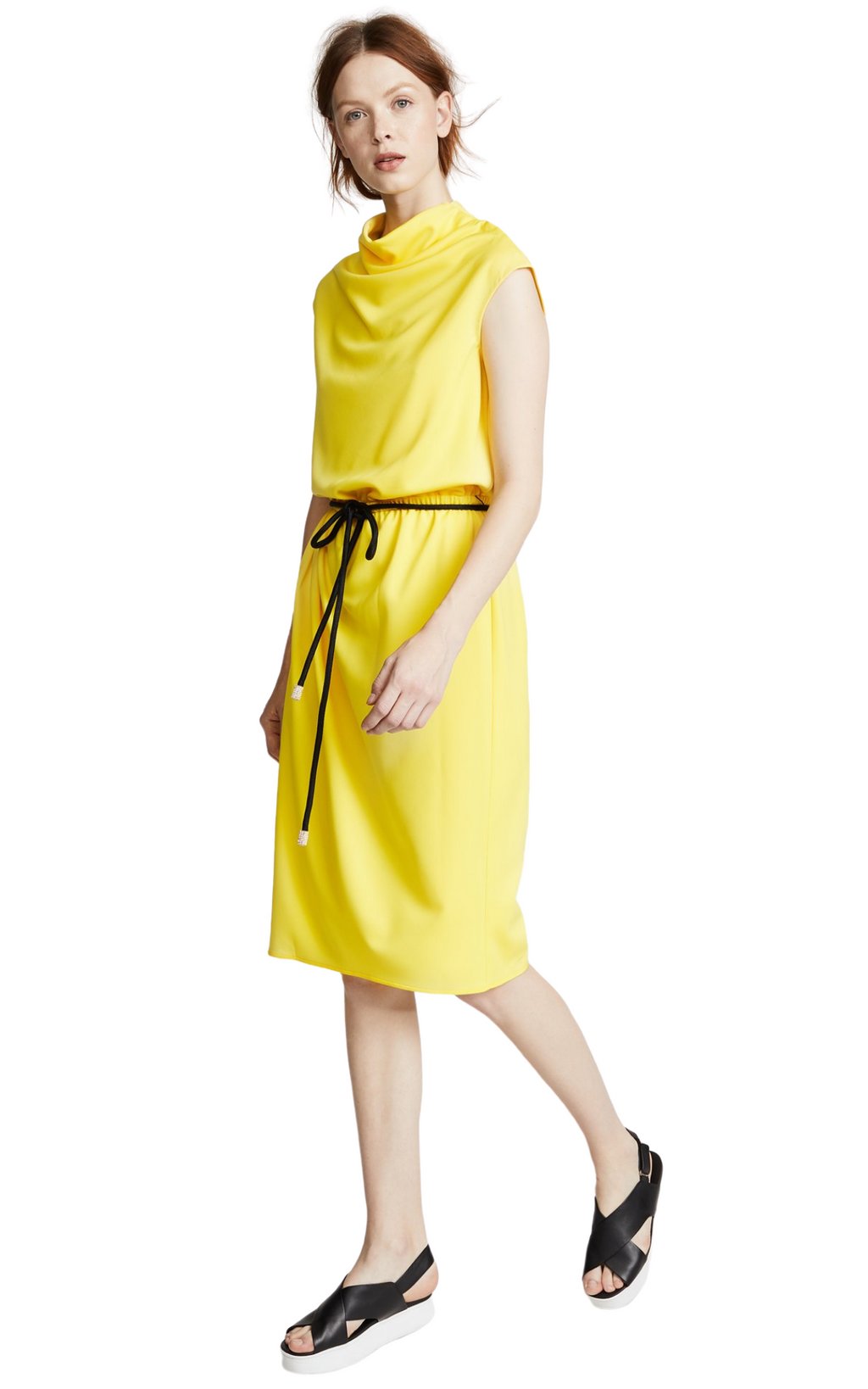 Marc Jacobs Yellow Draped Cowl-Neck Midi Dress