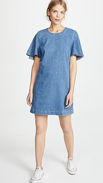 7 For All Mankind Bell Sleeve Denim Shift Dress