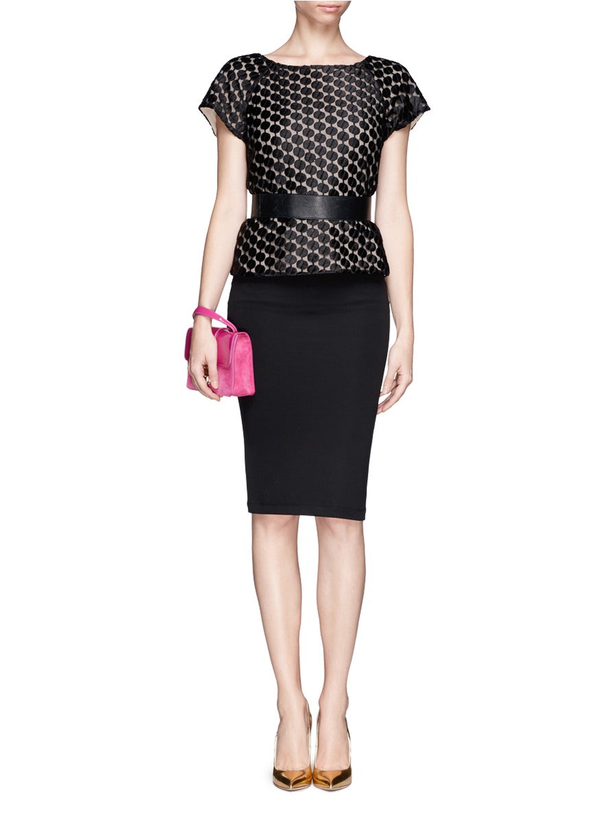 Alice + Olivia Leather Trim Pencil Skirt