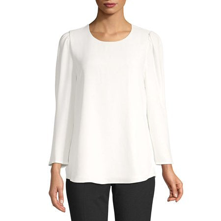Calvin Klein Long-Sleeve Puffed Shoulder Blouse