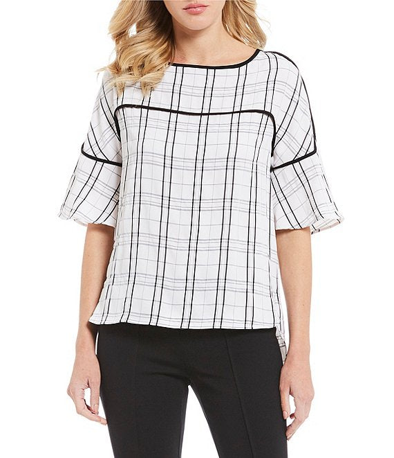 Calvin Klein Hi-Lo Piped Trim Top