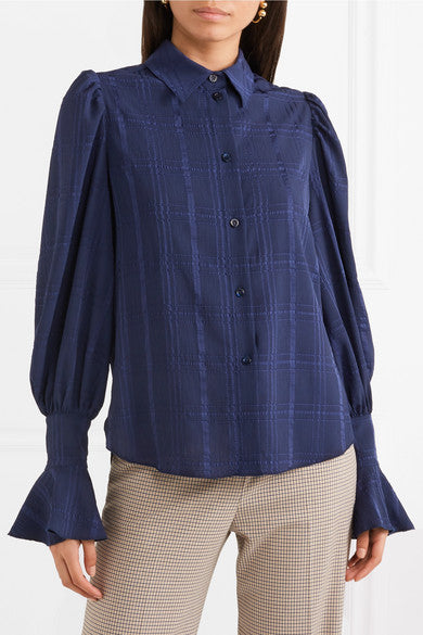 See by Chloe Crepe-Jacquard Blouse