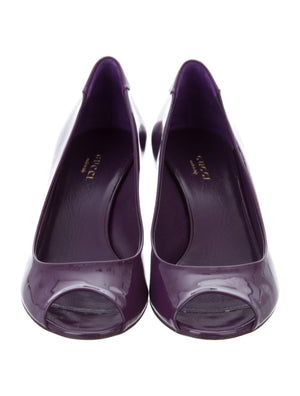 Gucci Purple Patent Peep-Toe Wedges