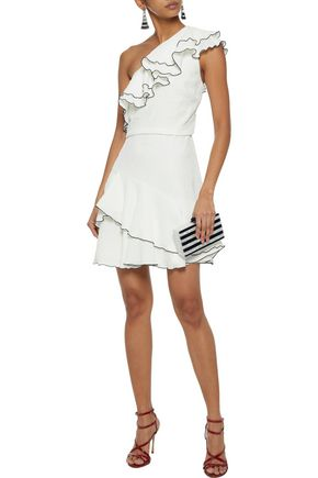 Halston Heritage One-Shoulder Cloque Mini Dress