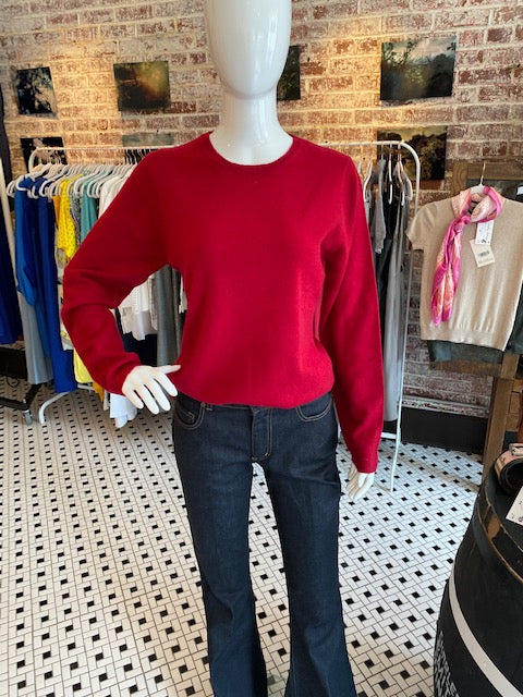 Hannah Rose Cranberry Cashmere Sweater