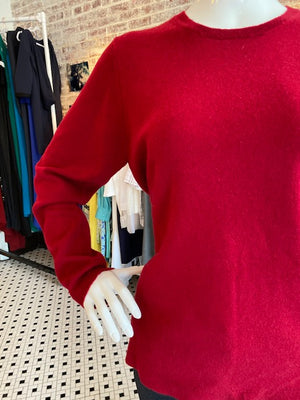Hannah Rose Scoop Neck Cranberry Cashmere Sweater