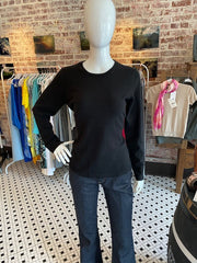Hannah Rose Scoop Neck Black Cashmere Sweater