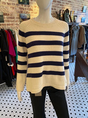 Hannah Rose Striped Cream Cashmere Blend Sweater