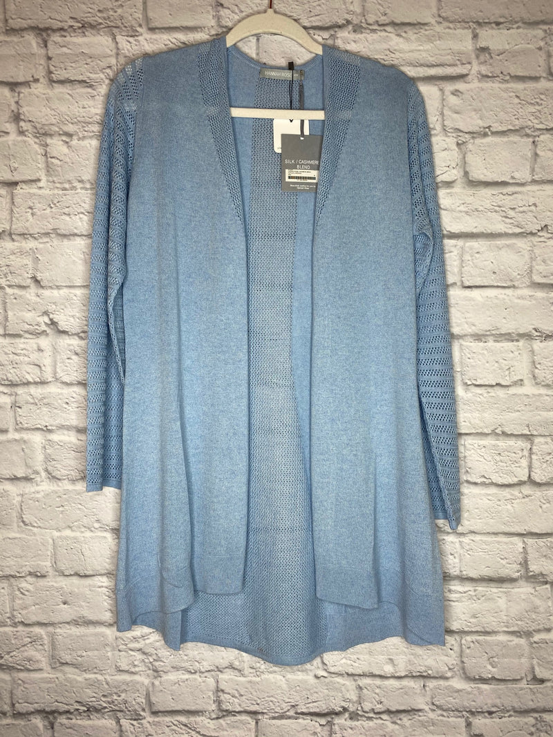 Hannah Rose Blue Silk-Cashmere Blend Duster