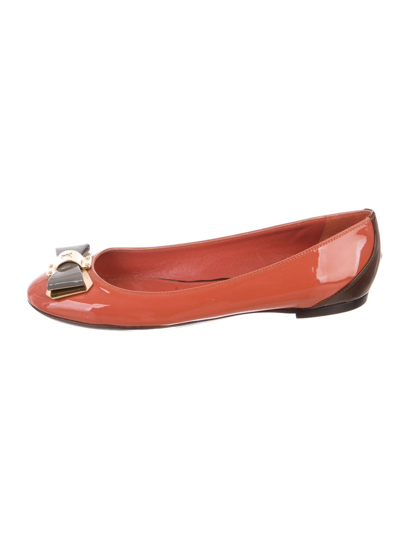 Louis Vuitton Patent Leather Ballet Logo Flats