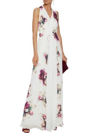 Mikael Aghal Floral-Print Silk Gown