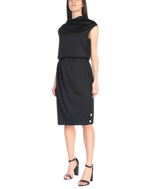Marc Jacobs Classic Black Draped Cowl-Neck Midi Dress