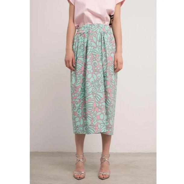Marc Jacobs Pink and Aqua Draped Midi Skirt