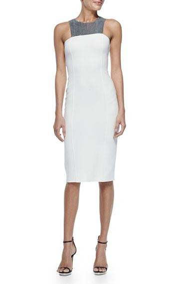 Michael Kors White Silver Italy Sequin Sheath