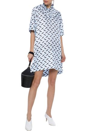Marni Ruffle-Trimmed Silk Mini Dress