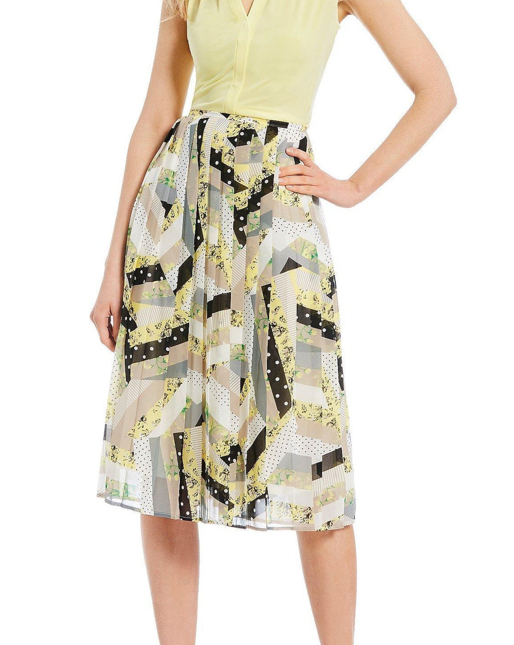 Calvin Klein Multi-Print Pleated Midi Skirt