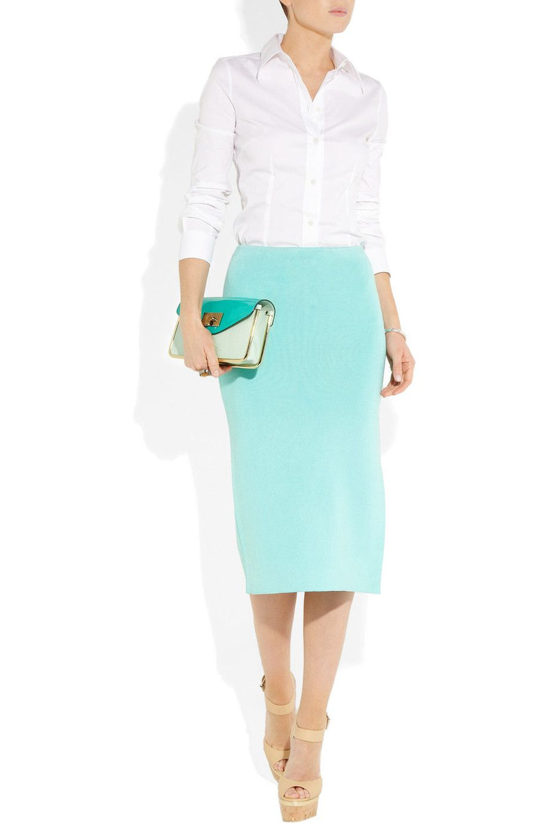 Ralph Lauren Stretch-Knit Silk-Blend Pencil Skirt