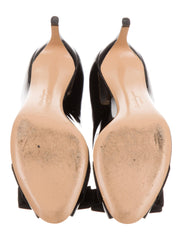 Salvatore Ferragamo Patent Leather Peep-Toe Logo Pumps