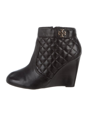 Tory Burch Quilted Logo Wedge Booties