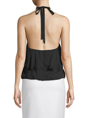 Alice + Olivia 'Monet' Ruffled Silk Halterneck Top